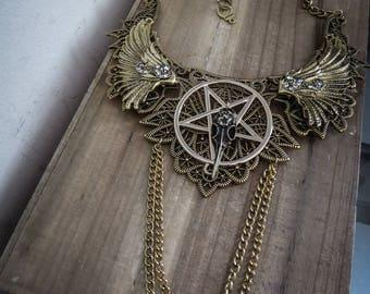 Maxi collar lace bib Golden goth pentagram ♰666 SkullBird 666♰