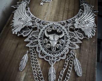Silver lace bib necklace boho chic spikes ♰ Buffalo ♰