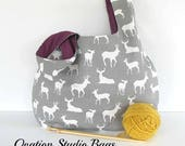 Knitting bag, Large knitting project bag, Deer Stag Yarn Bag gift for knitter, Knitting tote bag
