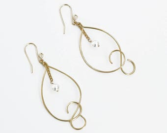 Gold Wire and Pearl Earrings