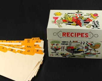 Vintage Tin Recipe Box with Dividers