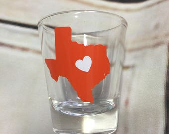 Texas state silhouette shot glass