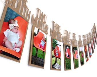 First Birthday Banner / Photo Birthday Banner / 1st Birthday Banner /One Year Birthday Banner / Birthday Photo Banner / Monthly Photo Banner