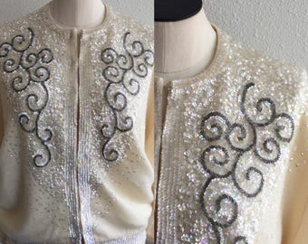 Gatsby Glitter Cardigan | Vintage Sequins Cashmere Cardigan | 1950's Cardigan sweater