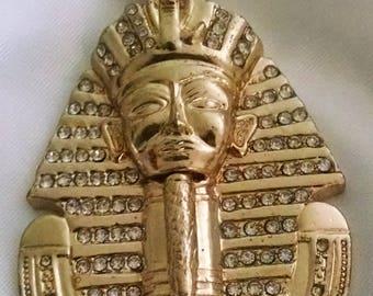 Pendant Necklace Vintage Pharaoh Mask Gold Faux Diamonds Big Bold Heavy Chunky Egyptian Revival Art Deco