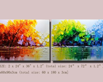 contemporary wall art,, Modern Textured Painting,Impasto  Landscape  Textured Modern Palette Knife Painting,Painting on Canvas. Chen 0626
