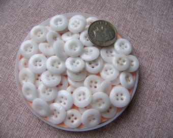 Lot of 65 Vintage Small White China Buttons