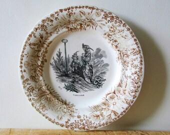 """Antique french """"Capucine"""" plate, Creil et Montereau France, 1849-1876, 1800s, Assiette parlante, Vintage"""