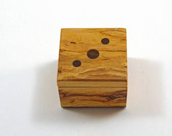 Handmade Exotic Wood Ring Box --Spalted Maple Base, Splated Maple With Wenge Dowels Top (RB3494 )