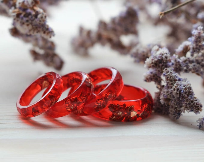 Red Resin Ring with flakes, Set of Rings, Minimal Everyday Jewelry, Simple Resin Ring, Hot Resin Ring, Under 20 gift for her, big size ring