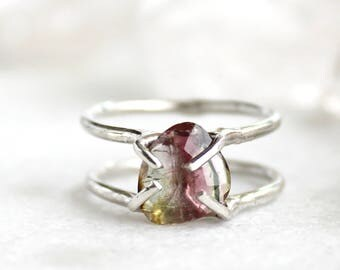20% OFF SALE tourmaline ring, hand carved, pink tourmaline, silver ring, rose cut, double band, gifts for her, recycled silver