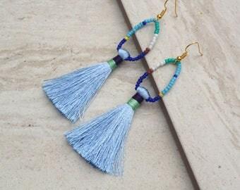 Aqua Blue Tassel Hoop Earrings Seed Bead Loop Tassle Earrings,Silk Tassels, Funky, Colorful, Trendy Earrings, Holiday,  Wholesale Jewelry