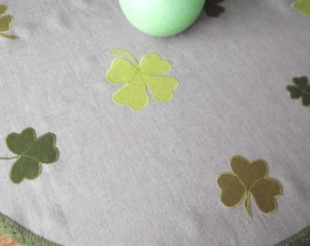 St.Patric's Day small round  tablecloth organic gray washed linen  tea time table topper with lace, shamrocks application
