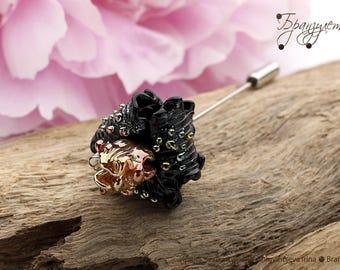 Iris black and gold - brooch pin glass flower lampwork Beads artisan