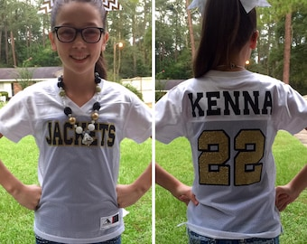 Custom Football Jersey, Monogrammed Jersey, Game Day Jersey, Football Jersey, Football Bachelorette, Cheerleader Jersey, Team Spirit Shirt