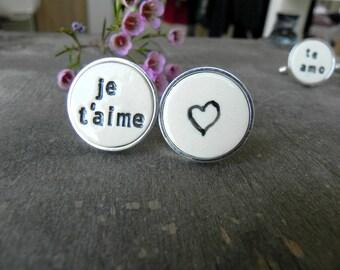 Personalized Love Cuff Links, Je t'aime, Heb Je Lief en Heart Cuff Links, unique Groom  cuff links, Best Man Groomsmen Custom Cuff Links