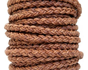 Round Braided Bolo Leather Cord 8 Ply 2 mm Natural Light Brown Color (Length: 1 Foot)