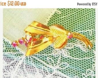 ON SALE Vintage Brooch Gold With Pink Aurora Borealis Stones Bridal Brooch Bouquet Wedding Brooch Pin