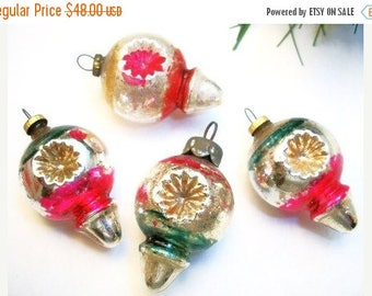 ON SALE Vintage Rare Mini Hand Blown Christmas Tree Ornaments 1 Dozen in Vintage Box Very Small and Colorful Bulbs