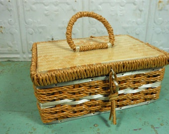 Vintage Woven Dritz Lidded Sewing Basket, Yellow Fabric Lined Notions Box Made in Japan