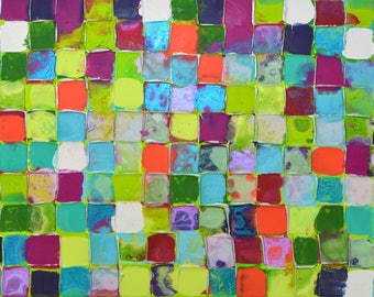 XL Original Mosaic Art by Caroline Ashwood - Textured and contemporary abstract painting on canvas - FREE SHIPPING