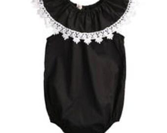 Baby Infant Girl Black and White Boho Tribal Native Tassel  Baby Romper Sunsuit Sun Suit