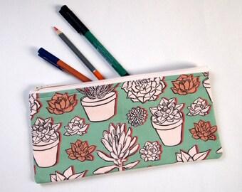 succulents handmade pencil case | zip pouch