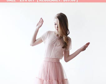 25% OFF Blush Chiffon dots short sleeves top, Pink chiffon top, Sheer chiffon top 2045