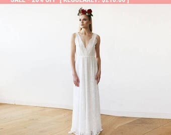 Sleeveless Ivory Lace Wedding Gown, Lace boho bridal dress 1150