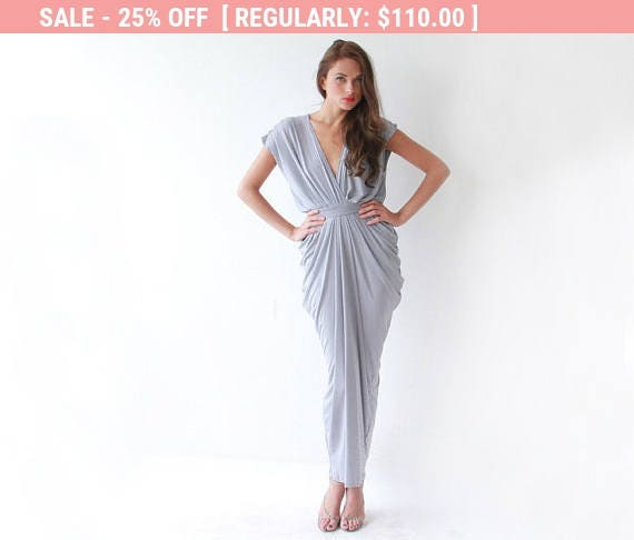 25% OFF Light gray maxi bridesmaids dress with small sleeves 1008