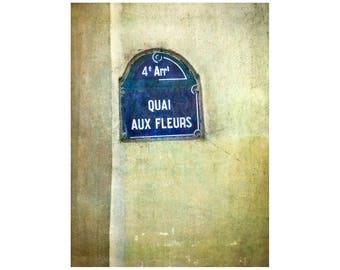 Paris Flowers, Quai Aux Fleurs, Street Sign Photo, Garden Art, Rustic Scene, Paris Photography