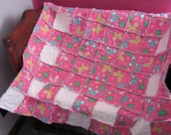 Handmade Flannel Pink butterflies rag quilt for girl