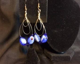 Hoop Blue Drop Earrings
