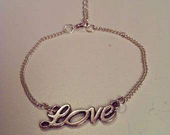 LOVE bracelet silver plated chain