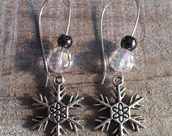 Snowflakes earrings large silvery Hematite 2 clasps