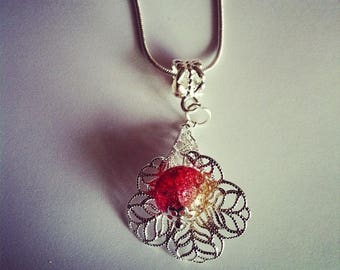 Pearl flower pendant in red and yellow Crackle Glass