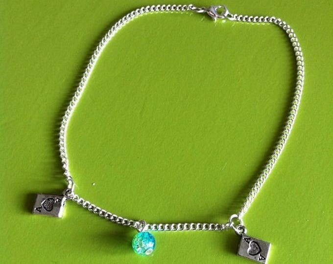 Silver chain anklet POKER green and turquoise