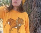 Vintage 80s Yellow Bulldog Sweatshirt Mack Truck Mens Small Medium Womens Large Made by Artex
