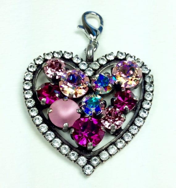 Swarovski Crystal - Heart Shaped - Add-On Charm -  Lt. RoseAB, Fuchsia, Aurora Borealis, Light Rose Matte  -   FREE SHIPPING - SALE - 35.