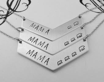 Mommy Jewelry - MAMA Bear Necklace - Hand Stamped Chevron Necklace - New Mom Gift - Push Gift - Mother's Day Present - Gift for Mom