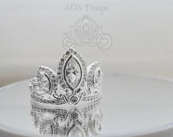 925 Solid Silver Tiara Princess Ring Rapunzel Tangled Crown Crystals