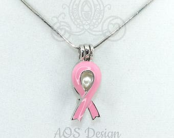 Pink Awareness Ribbon Pearl Cage Necklace Silver Plated Locket Charm Pink Enamel Breast Cancer Awareness Survivor Gift