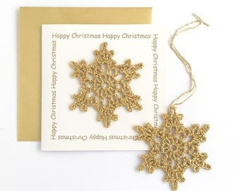 Christmas Card with Golden Star or Snowflake Ornament / Happy Christmas Greetings Card Star Snowflake Gold Decoration
