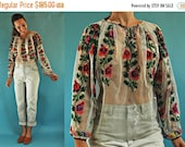 THE SUPER SALE vintage Sheer Romanian Traditional Mesh Folk Blouse with Floral Embroidery