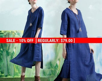 SALE! blue tunic dress, linen tunic dress, linen dress, shirt dress, long sleeve dress,navy blue dress, linen kaftan dress, plus size dress
