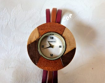 Watch, bracelet leather, three strips of 5 mm