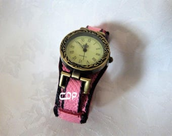 loop closure shows pink leather cuff watch