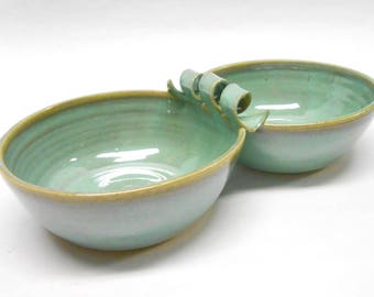 Pottery Pistachio Server Ceramic Salsa Server Ceramic Pistachio Server Pottery Salsa Server Two Connected Salsa Bowls in Turquoise