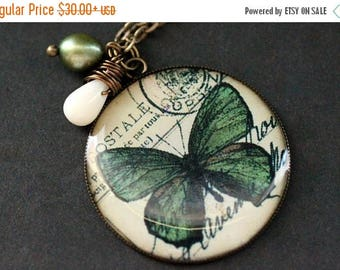 SUMMER SALE Green Butterfly Necklace. Green Butterfly Pendant with Wire Wrapped Teardrop and Olive Green Pearl. Butterfly Jewelry. Handmade