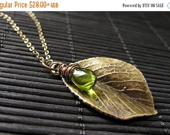 SUMMER SALE Leaf Necklace. Bronze Leaf Pendant with Wire Wrapped Green Teardrop. Handmade Jewelry.